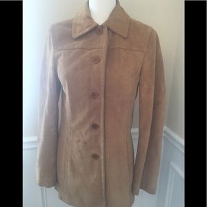 Coach tan leather jacket coat Genuine suede small